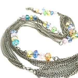 Multi Strand Beaded Long Necklace